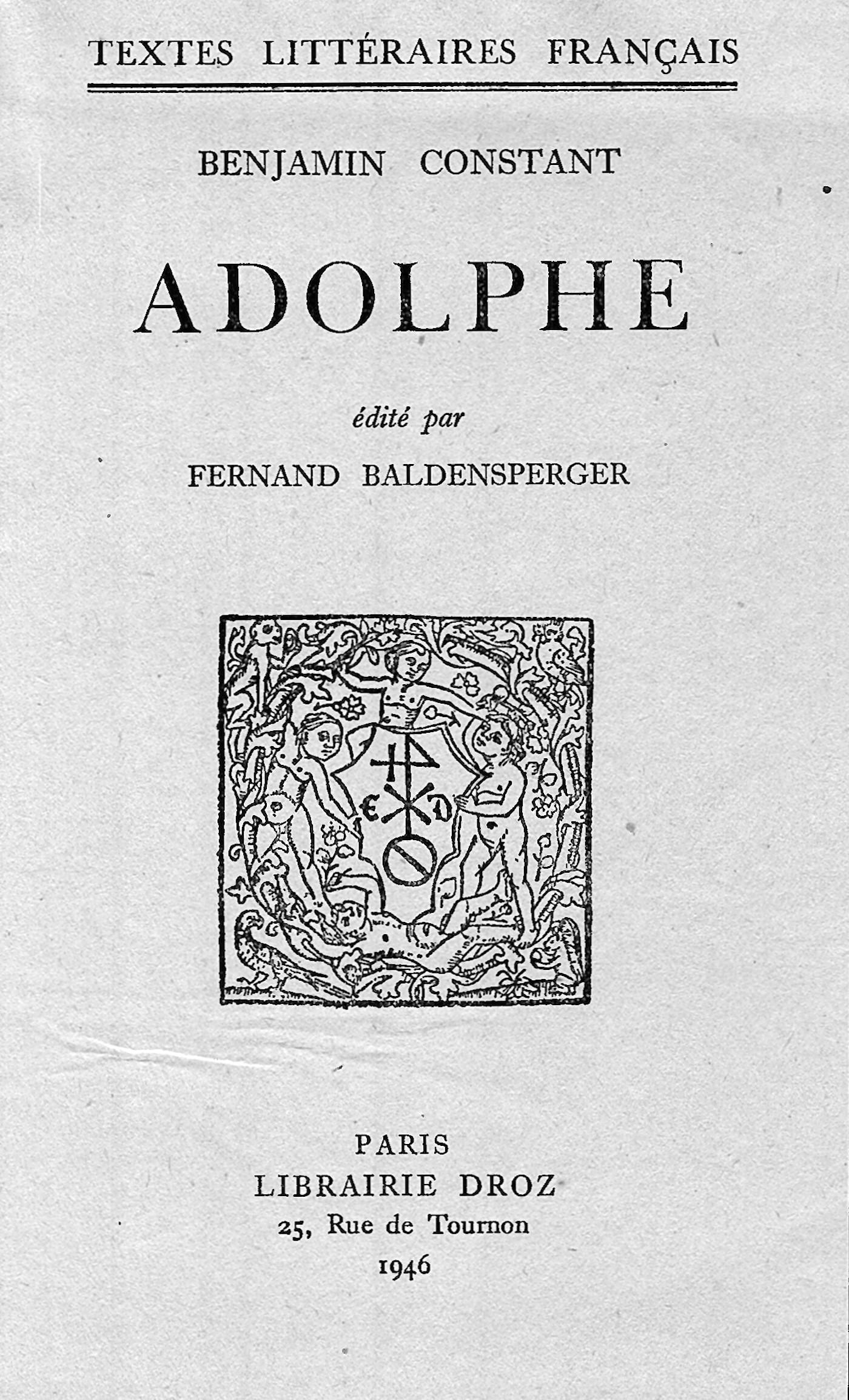 Vignette du livre Adolphe