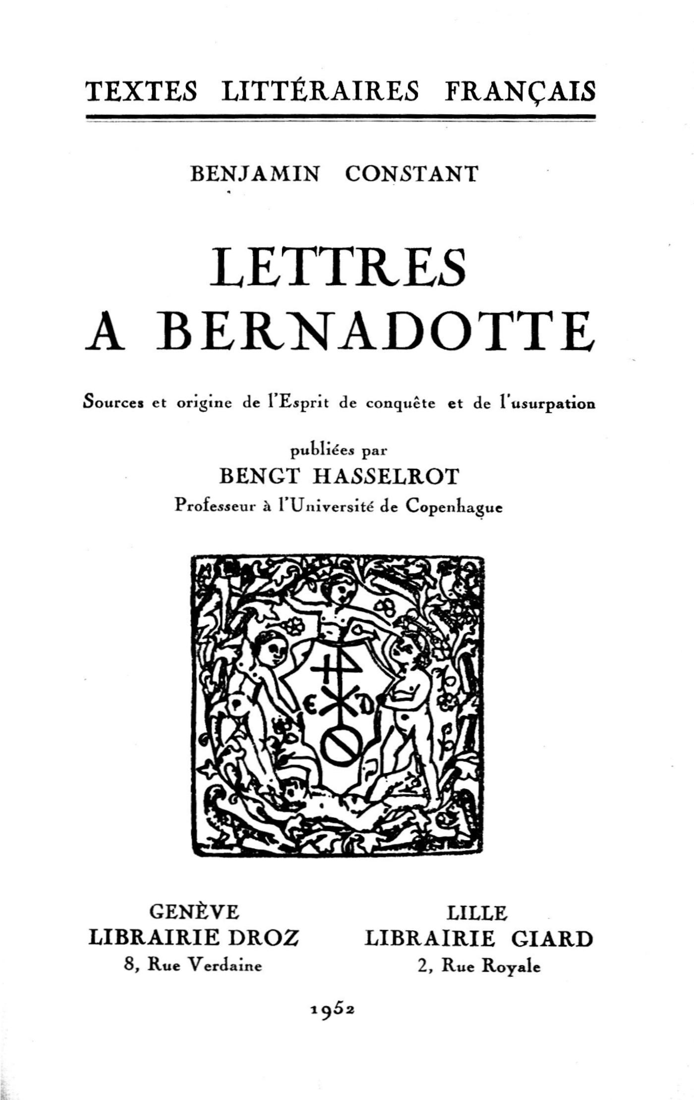 Vignette du livre Lettres à Bernadotte